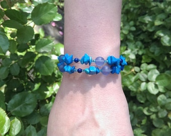 Turquoise and Blue Glass Coil Bracelet