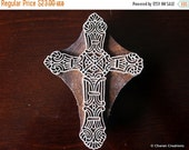 THANKSGIVING SALE Wood Block Stamp, Tjaps, Indian Wood Stamps, Pottery Stamps, Textile Stamps, Hand Carved - Cross
