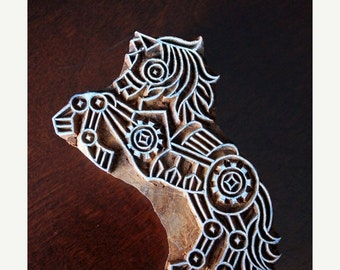 THANKSGIVING SALE Hand Carved Indian Wood Textile Stamp Block- Steampunk Horse