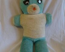 "Vintage 60s TEDDY BEAR Blue 28"" Large Blue Fur Google Eyes SUPERIOR Toy & Novelty Co. Baby Room Decor"