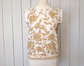 Floral Sleeveless Blouse Mid Century Beige Cream Tank Top 1960s Hippie Vintage Medium Large