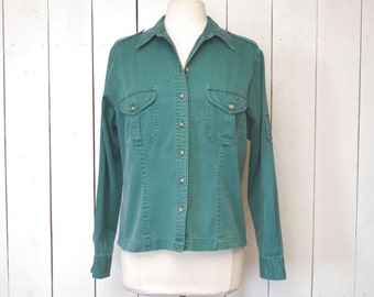 RESERVED Cotton Oxford Shirt Early 90s Vintage Limited Preppy Womens Green Button Up Shirt Medium Large