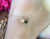 Beach Wedding Sterling Silver Anklet with monogrammed charm tag and colorful bead. Adjustable up to 10 1/2 inches. Custom inital A to Z.