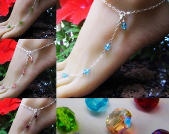Crystal Clear Sterling Silver Adjustable Anklet and Toe Ring with Beautiful Swarovski Crystal Beads also in 6 other colors