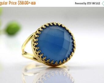 SUMMER SALE - 14k gold filled ring,chalcedony ring,blue ring,checker cut ring,bridal ring,wedding ring,semi precious ring