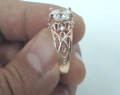 Rose Gold Engagement Ring, Filigree Design Ring, Art Deco Ring, CZ Engagement Ring, Gift For Her, Gifts For Wife