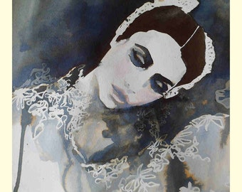 Art print from an original water colour and ink illustration the ballet dancer