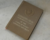 CONSTITUTION FUNDAMENTAL The Laws of Union of Soviet Socialist Republics Lenin & Stalin Profiles Pocket Size Embossed Hammer and Sickle 1938