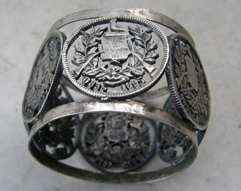 SILVER NAPKIN RING 6 Emblems Libertad 15 de Septiembre de 1821 Central America's Liberation from Spain Guatemalan Freedom Flag Free Shipping