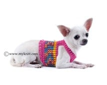Girly Pink Dog Harness Choke Free Handmade Knitt Soft Cotton Teacup Chihuahua Clothes Puppy Collars Dog Leashes DH13 Myknitt - Free Shipping