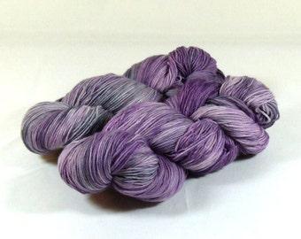 Sock Yarn / Hand Dyed / Fingering Yarn- Superwash Merino / Nylon - Mountain Flowers - Purple/Silver/Charcoal Gray