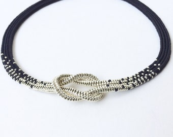 Beadwoven black and silver love knot necklace, ombre necklace, gift for her, infinity knot seed bead necklace, beadwoven jewelry
