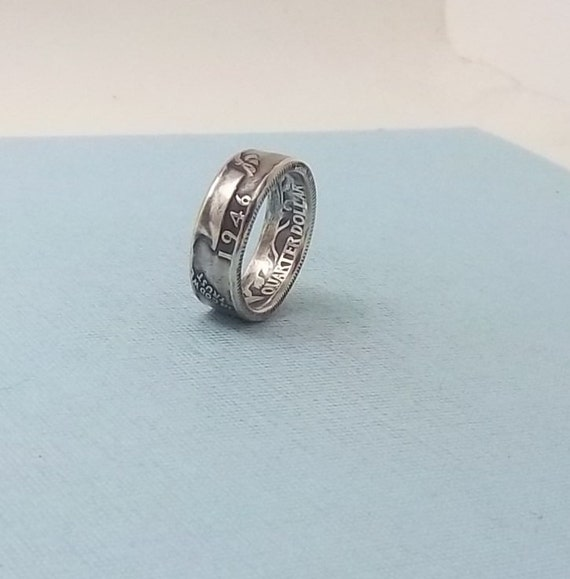 silver coin ring washington quarter year 1946 size 7 90