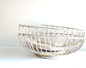 Set of 2 Sterling Silver Baskets: Fruit, Vegetable, Bread, Counter top, Serving, Wire