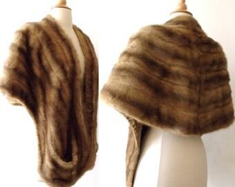 50's Glamour Mink Fur Stole ~ Real Fur Shrug Jacket Wrap Capelet~