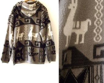 80's Men's Grunge Hooded Ecuador Wool 2-Pocket TEJODOS IMALAYA Cardigan Hoodie ~ Size L XL