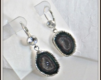 OOAK Artisan designer Petite Tabasco geode II druzy quartz earrings sterling silver backed Tabasco Geodes. Natural rare Mini Geode Halves