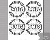 """2016 - 4"""" Party Circle Tags  - (1) PDF Printable File - Instant Digital Download - Graduation Party Decor, Favor Tag, Teacher Thank You Tag"""
