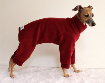 Italian Greyhound Wine Fleece Jammies - other colours available - IMPORTANT - see item details - dog clothes - Shadedmoon