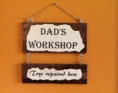 Dad's Workshop Wooden Sign - handmade signs - wood signs - Father's Day - signs for dad - garage sign - shop sign
