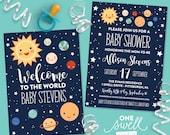 Outer Space Invitation Moon Invitation Moon Baby Shower Space Baby Shower Invitation, Planets Invitation Stars Printable Invitation Shower,