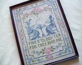 """Vintage Framed Cross Stitch Sampler """"Five O'Clock Tea for Thee and Me"""" - Large 16"""" by 12"""" Linen Sampler - Tea Time Decor"""