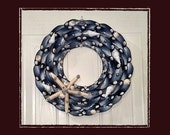 "Sea Shell Mussel Wreath (12"" Size) -- Handmade Coastal Decor"