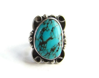 Navajo Style Turquoise Ring Size 6.5 Black Matrix Sterling Silver Southwestern Indian Jewelry