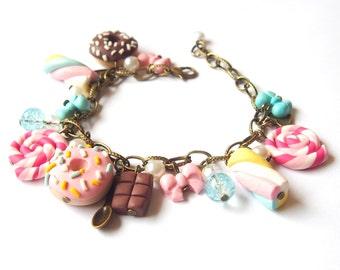 Food Bracelet Doughnut Bracelet ( marshmallow bracelet mini food bracelet polymer clay jewelry donut bracelet cute bracelet bronze bracelet