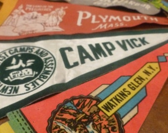 vintage souvenir pennants, lot of 5, Watkins Glen, Plymouth ,, 3 others great price