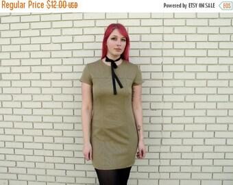 HOLIDAYSALE Tan Mini Shift Dress - Mod Grunge Medium Weight VTG - Size M/L