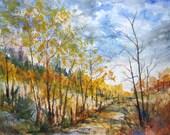 Watercolor Landscape Painting archival print, autumn landscape, fall painting, woodland scene, scenic nature painting, watercolor print.