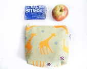 SALE - 50% Off: Insulated Snack Sleeve / Lunch Bag / Baby Bottle Case with Waterproof Lining - Yellow Giraffe