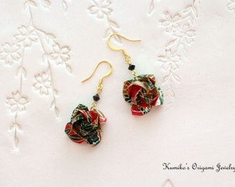 Origami Jewelry - Japanese Origami Rose Earrings with Swarovski Crystals with Plated 14KG No.03282