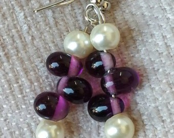 Glass Purple & Pearl Dangle Fish hook earrings
