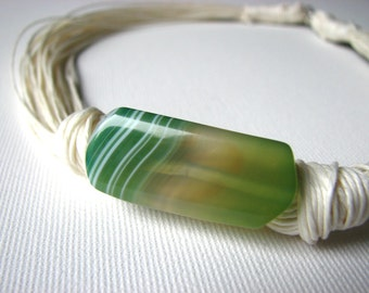 Light Green Agate- linen necklace
