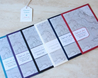 Italy Map Wedding Invitation Booklet - Vintage Map - Florence Tuscany Destination - SAMPLE