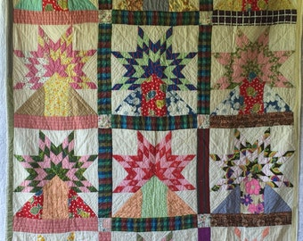 Antique Vintage STAR SUNSHINE Over The Mountain TREE Quilt Spectacular