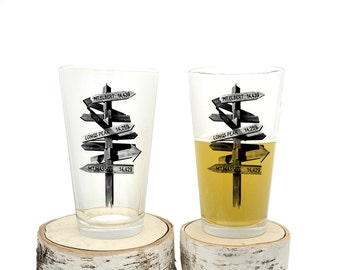 Pint Glasses - Trail Signs - Screen Printed Pint Glasses - Set of two 16oz. Beer Glasses