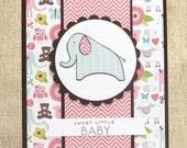 Welcome Baby Card- Baby Girl- Elephant Baby Card- Sweet Little Baby- Handmade New Baby