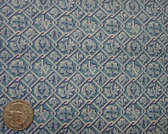 "Vintage Fabric, Lovely Cotton Print, Small Blue Pattern, 36"" Wide, Over 4 Yards Available"