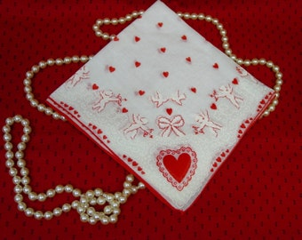 Vintage Valentine's Day Handkerchief, Hanky Cupids and Hearts and Bows Oh My!