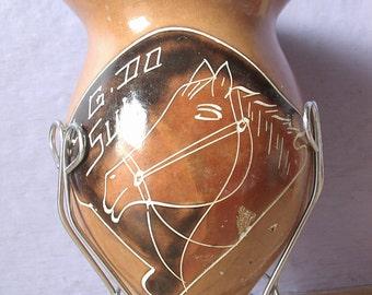 Vintage Handmade Gourd Art, Gourd Vase with stand, Horse Vase, Etched vase, Brown Vase, Southwest Decor, Horse gift, Cowboy Western decor