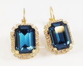 MONTANA Blue Earrings // Navy Blue Halo Swarovski Crystal Emerald Cut Earrings // Small Pave Crystal Rhinestone Rectangle Gold Earrings