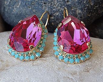 Pink Fuchsia crystal swarovski drop earrings. Turquoise fuchsia  earrings. Teardrop Dangle Earrings,Bridesmaids Pink Earrings,Bridal Jewelry
