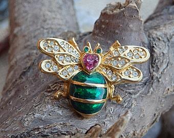 Gold Insect Brooch, Gold Plated Bug Brooch Pin, Fly Bee Brooch, Handmade Clear Swarovski Brooch Pin, Golden Animal Brooch, Green Pink Brooch
