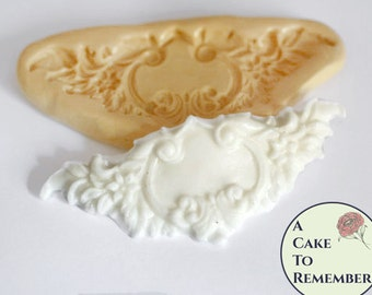 Small floral silicone fondant swag mold for cake decorating, polymer clay mold, resin mold. Flexible lace mold, fondant lace mold,   M5033