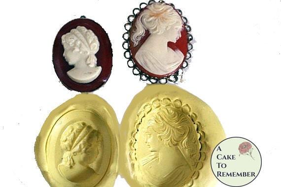 Cameo mold set for cake decorating, chocolate cameo mold, silicone cameo mold, polymer clay mold, resin cameo mold, silicone cameo mould