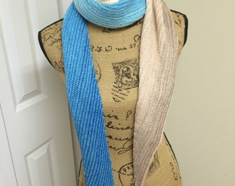 Gradient Scarf, Hand Knit scarf, Multi-colored scarf, Knit Scarf, Light-Weight Scarf, Wool Scarf, Womens Gift, Gift for her