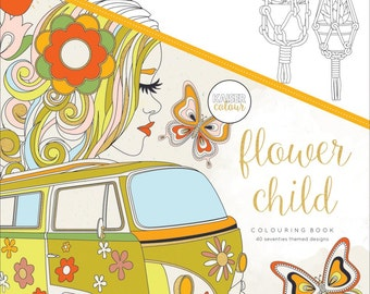 Adult Coloring Book - Flower Child - 40 Seventies Themed Designs - KaiserColour Perfect Bound Coloring Book (275665)